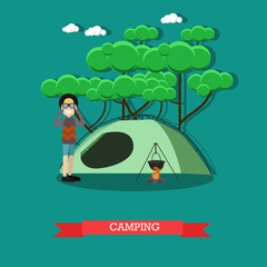 Camping concept vector illustration in flat style