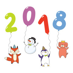 Hand drawn New Year 2018 greeting card, banner template with cute cartoon funny animals holding numbers made of balloons. Isolated objects. Vector illustration. Design concept for party, celebration.