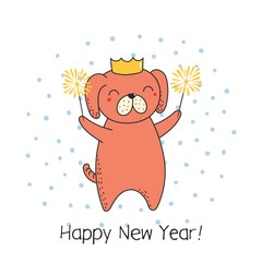 Hand drawn Happy New Year greeting card with cute funny cartoon dog with sparklers, typography. Isolated objects on on white background. Vector illustration. Design concept party, celebration