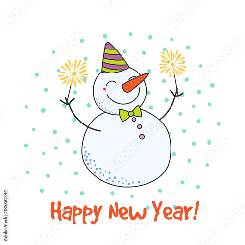 Hand drawn happy new year greeting card with cute funny cartoon hand drawn happy new year greeting card with cute funny cartoon snowman with sparklers typography m4hsunfo