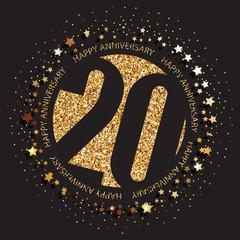 Decorative golden emblem of anniversary - vector illustration. 20th birthday logo.