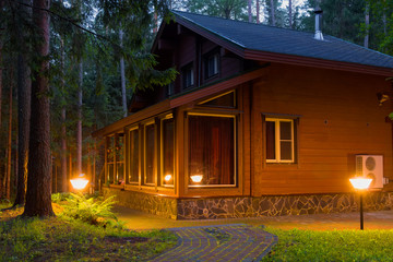 Country house (dacha) in night