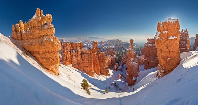 Bryce Canyon National Park under snow , winter landscape. Utah, USA