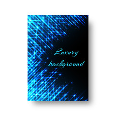 Rectangular design of a New Year greeting card with bright blue beams of neon light on a black background