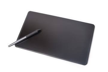 Graphic tablet and pen isolated on white background