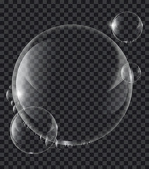 Soap or Water bubbles on tranparency background ,vector design element EPS10 illustration