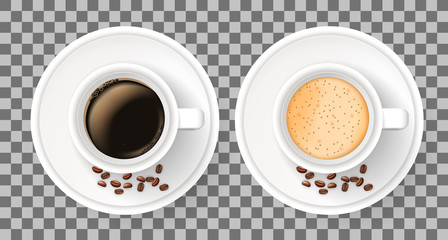 Top view of two realistic cups on saucers with coffee beans. Elements isolated on the white background. Americano, cappuccino and latte coffee.
