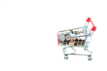 shopping cart with coins isolated