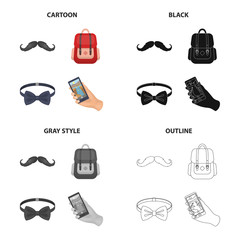 Hipster mustache, stylish backpack, bow tie, mobile phone in hand. Hipster style set collection icons in cartoon black monochrome outline style vector symbol stock illustration web.