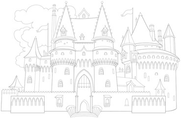 Black and white page for coloring. Fantastic medieval palace from a fairy tale. Worksheet for children and adults. Vector image.
