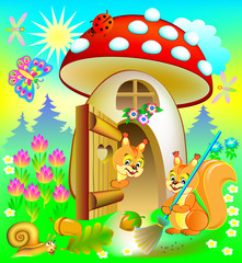 Happy squirrel cleaning his house, illustration for children's book.  Vector cartoon image.