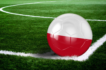 Poland Soccer Ball on Field at Night