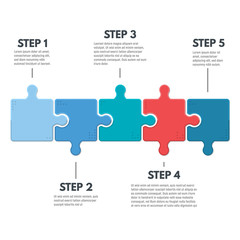 Puzzle infographic bussines concept. Template for business project presentation. Diagram with five puzzle pieces connected to each other. Modern line vector.