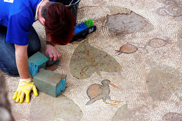 A worker cleans an ancient mosaic floor, decorated with birds, leaves and pomegranates, revealed during an Israeli Antiquities Authority excavation of a Christian pilgrimage center which is around 1,500 years old, in Beit Shemesh