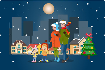 Family winter city landscape. Merry Christmas.
