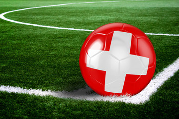 Switzerland Soccer Ball on Field at Night
