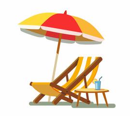 Deckchair and umbrella on the beach.