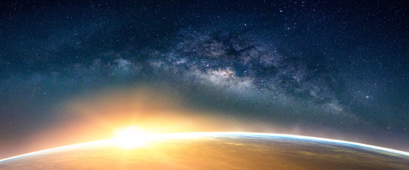 Photo sur Toile Morning Glory Landscape with Milky way galaxy. Sunrise and Earth view from space with Milky way galaxy. (Elements of this image furnished by NASA)