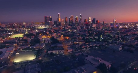 Fototapete - Scenic aerial view city downtown Los Angeles skyline sunset twilight dusk night