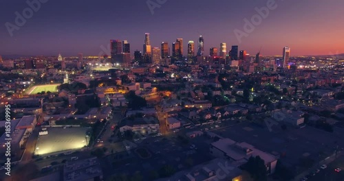 Fotobehang Scenic aerial view city downtown Los Angeles skyline sunset twilight dusk night