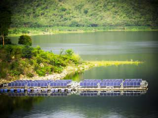 Landscape picture Array of solar panels on lake