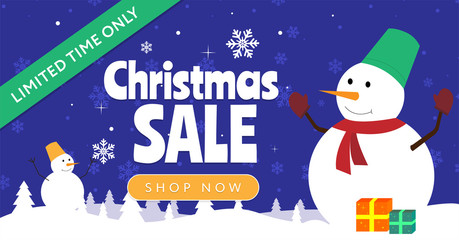 Christmas sale vector banner. Limited time only. Snowman on a winter background
