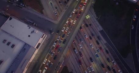 Fotobehang - Aerial view rush hour traffic 101 Freeway Los Angeles California dusk 4K UHD