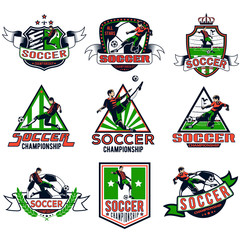 set of colored soccer badges for your unique design, printing on T-shirts and press, as well as using the Internet. Vector illustration