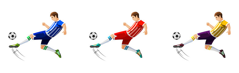 Player in soccer in three different colors isolated on white background. Vector illustration