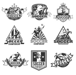 set of monochrome soccer badges for your unique design, printing on T-shirts and press, as well as using the Internet. Vector illustration