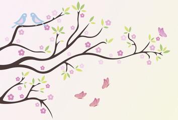 Fruehlingsast mit Schmetterlingen und Vögel