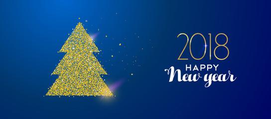 Happy New Year 2018 gold glitter holiday pine tree