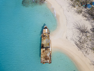 Wall Mural - Aerial view of shipwreck on the beach in Grand Turk island.