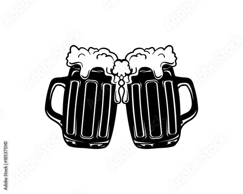 """Black Two Glass Beer Cheers Illustration Logo Vector ..."