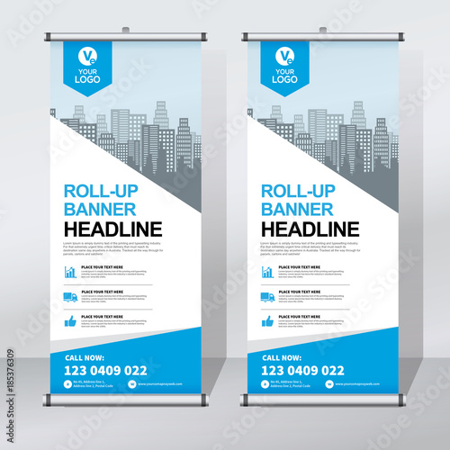 Roll Up Sale Banner Design Template Abstract Background Pull Up