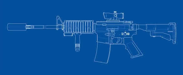 Machine Gun. Vector rendering of 3d