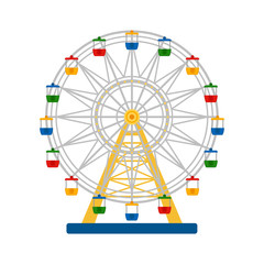 Colorful ferris wheel on white background, vector illustration