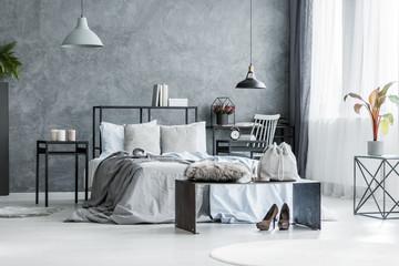 Woman's grey bedroom interior