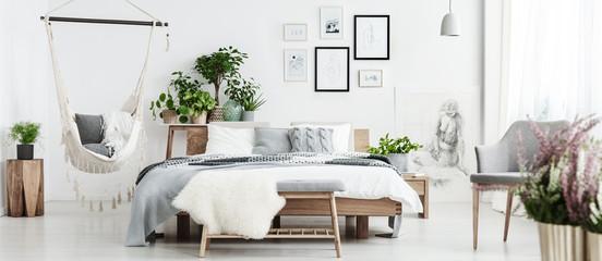 Spacious natural bedroom with hammock