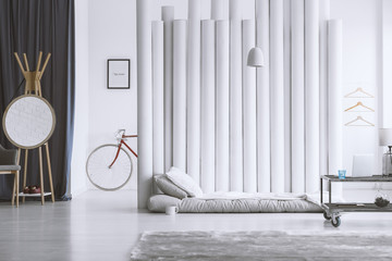 Designer interior with grey mattres