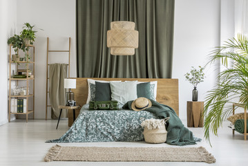 Olive cloth in bedroom