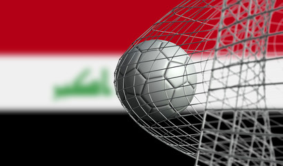 Soccer ball scores a goal in a net against Iraq flag. 3D Rendering