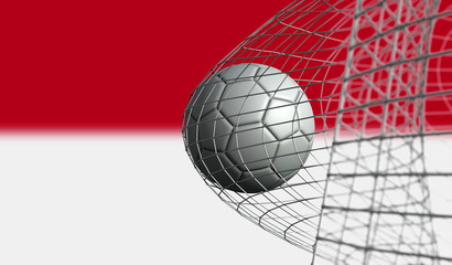 Soccer ball scores a goal in a net against Indonesia flag. 3D Rendering