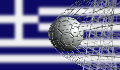 Soccer ball scores a goal in a net against Greece flag. 3D Rendering