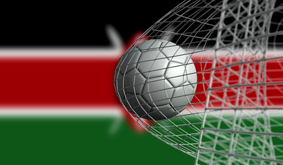 Soccer ball scores a goal in a net against Kenya flag. 3D Rendering