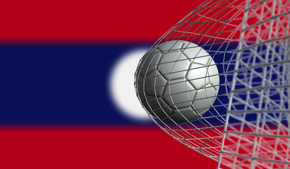 Soccer ball scores a goal in a net against Laos flag. 3D Rendering