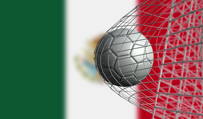 Soccer ball scores a goal in a net against Mexico flag. 3D Rendering