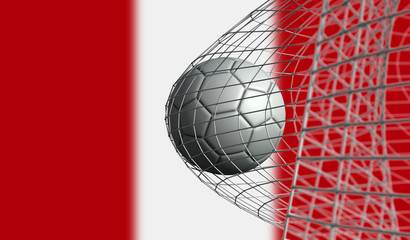 Soccer ball scores a goal in a net against Peru flag. 3D Rendering