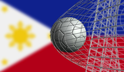 Soccer ball scores a goal in a net against Philippines flag. 3D Rendering