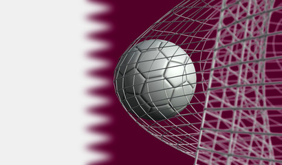 Soccer ball scores a goal in a net against Qatar flag. 3D Rendering